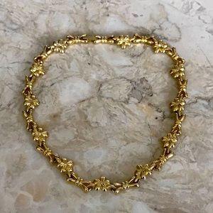 Gold Tone Daisy Ribbon & Crystals Choker Necklace